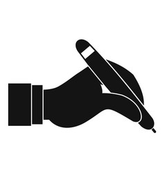 Hand holding black pen icon simple vector