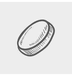Hockey puck sketch icon vector image vector image