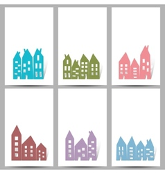 Houses on white cards vector image vector image