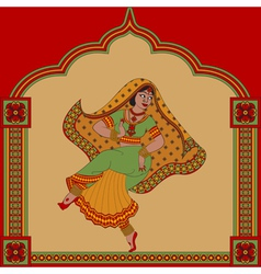 Indiane woman dance vector image vector image