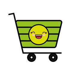 Kawaii shopping cart icon vector