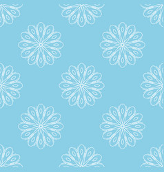 Light blue seamless background with white flowers vector