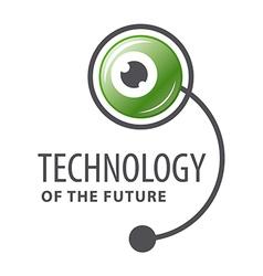 logo cyber robot eye vector image
