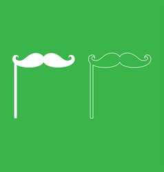 mustaches on the stick icon white color vector image vector image