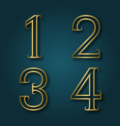 one two three four shiny golden numbers with vector image