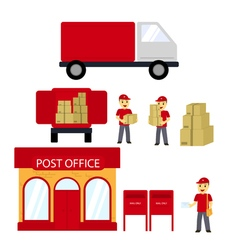Post office boxes postmanDelivery truck Delivery vector image