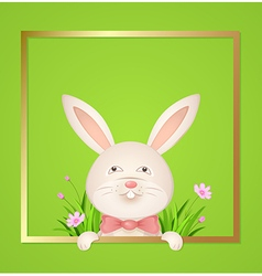 Rabbit with a red bow on a green background vector image vector image