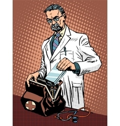 Retro doctor ambulance vector