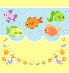 Sea animals cartoon background card with fish vector