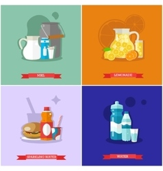 Set of soft drinks flat design vector