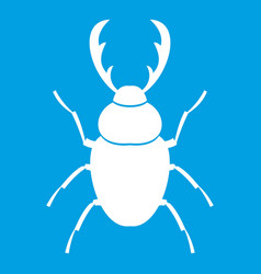 Stag beetle icon white vector
