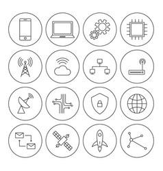 Technology digital thin line icon set vector