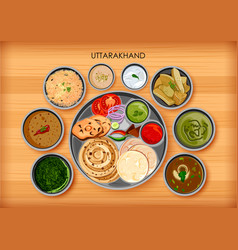 Traditional cuisine and food meal thali of vector