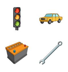Traffic light old car battery wrench car set vector