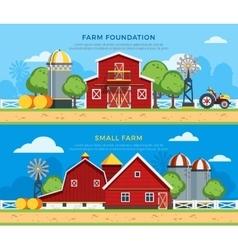 Two farm flat horizontal banners vector