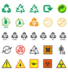 various recycle and hazardous sign set vector image vector image