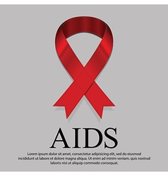 Red ribbon mourning sign for world aids day on 1 vector