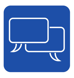 Blue white sign two outline speech bubbles icon vector