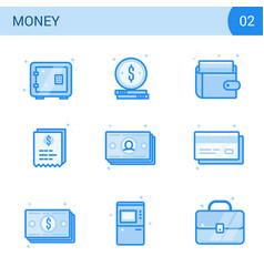 Flat line money icon set safe card cash wallet vector