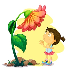 A young girl below the giant flower vector