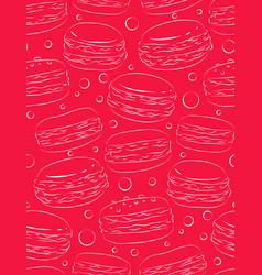 Seamless pink texture with outline macaroon vector