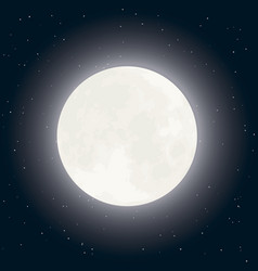 moon and stars on dark sky vector image