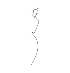 Naked nude woman with one black line vector