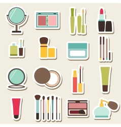 Set of beauty and cosmetics colorful icons vector
