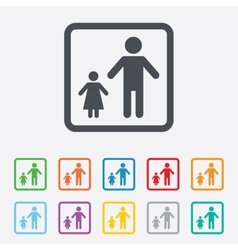 One-parent family with one child sign icon vector