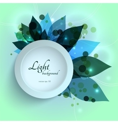 Magical glowing green leaves floral template vector