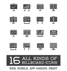 All kinds of billboard icons set of icons for all vector