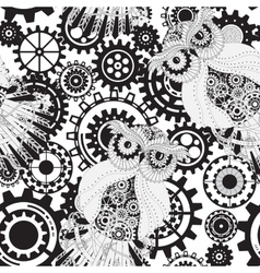 Black gears steampunk seamless pattern steampunk vector