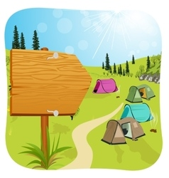 Blank wooden board standing near campsite vector