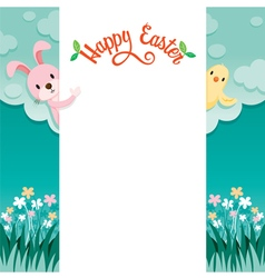 Happy easter lettering and animal on frame vector