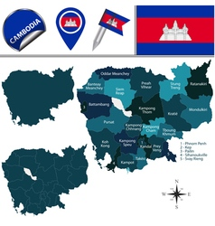 Cambodia map with named divisions vector