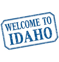 Idaho - welcome blue vintage isolated label vector
