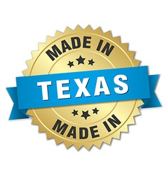 Made in texas gold badge with blue ribbon vector