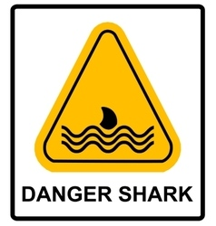A danger signal icon with a shark vector