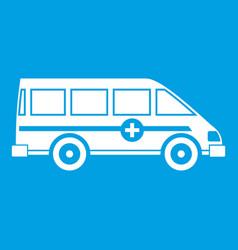 Ambulance emergency van icon white vector