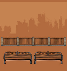 Benches with wrought-iron decorations vector