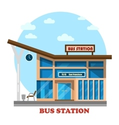 Bus station or depot structure exterior view vector
