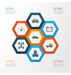 Car colorful outline icons set collection of car vector
