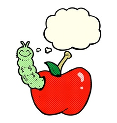 Cartoon bug eating apple with thought bubble vector