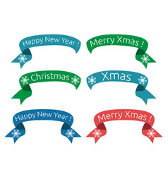 christmas new year ribbons vector image vector image