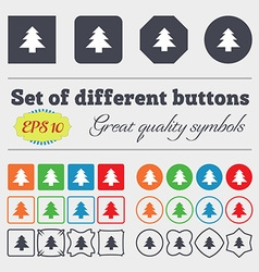 Christmas tree icon sign big set of colorful vector