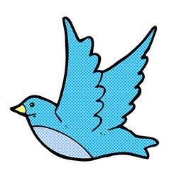 Comic cartoon flying bird vector