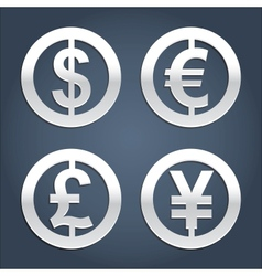 Dollar Euro Pound and Yen signs collection vector image