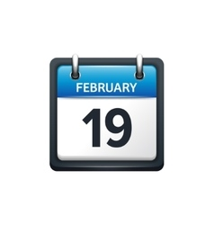 February 19 calendar icon vector