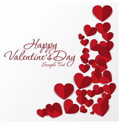 frame of red hearts on valentine s day empty vector image vector image
