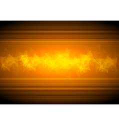 Glowing orange tech background with low poly vector image vector image